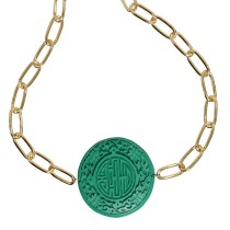 Gold Link Chain and Asian Pendant Necklace
