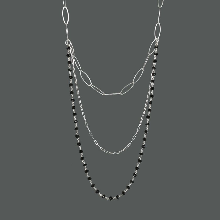 Triple Layered Sterling & Black Spinel Necklace