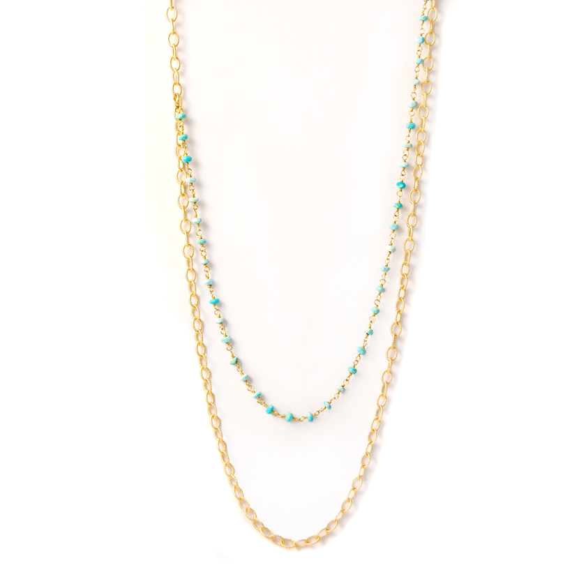 Gold & Turquoise Draped Necklace