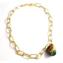 Gold and Chrysoprase Necklace