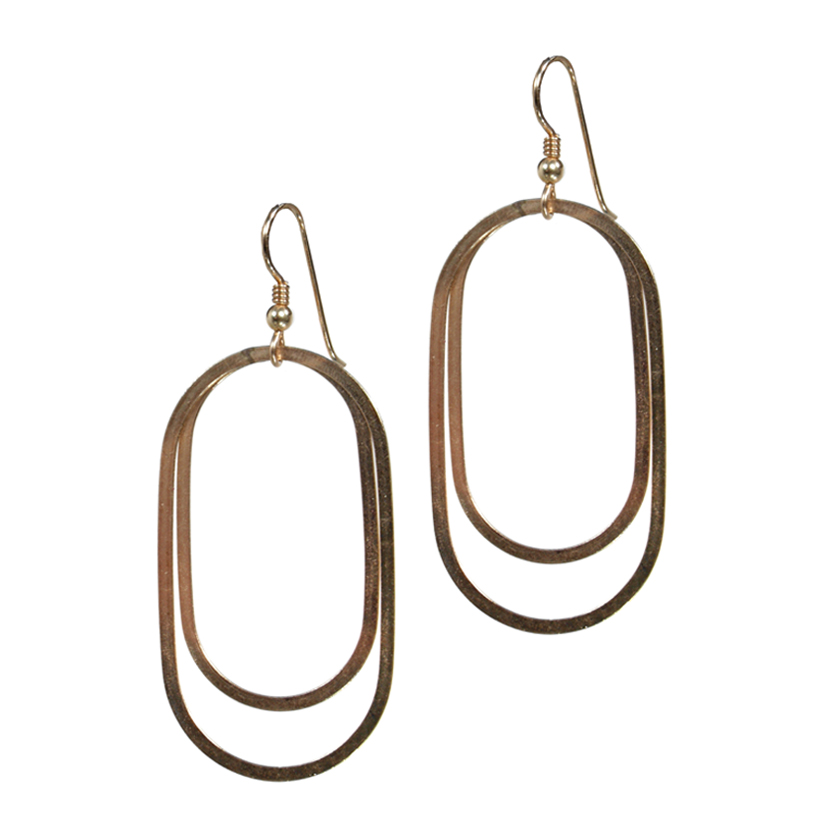 Double Oval Flat Wire Earrings