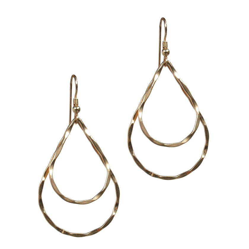 Hammered Double Teardrop Earring