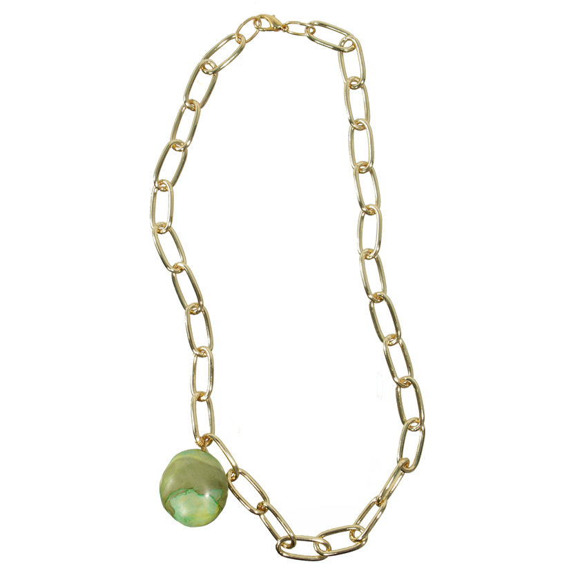 Gold and Green Turquoise Necklace