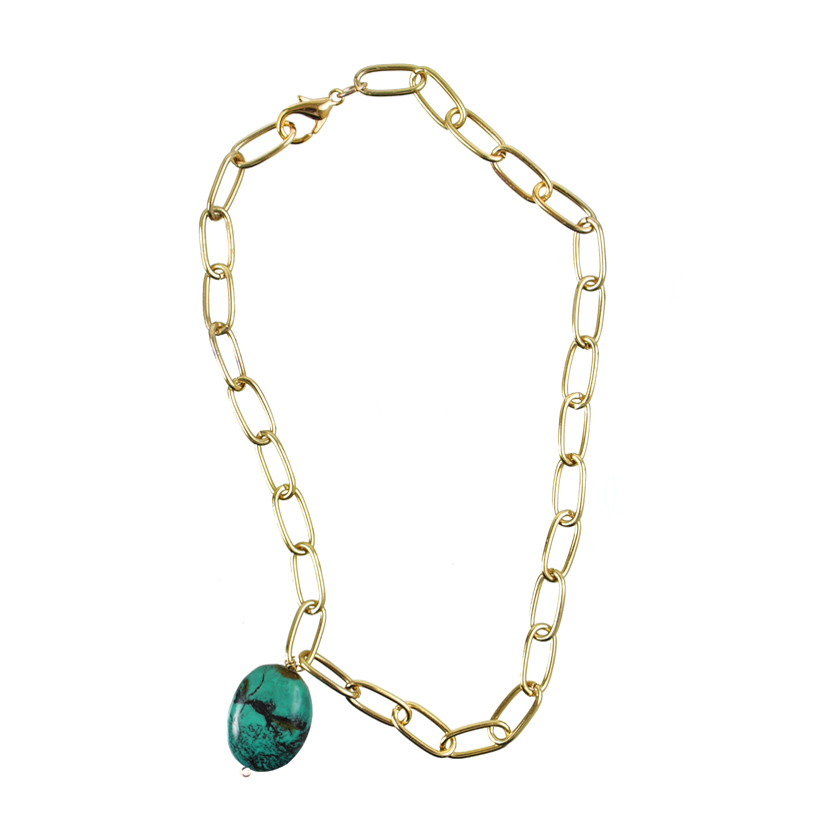 Gold and Blue Turquoise Necklace