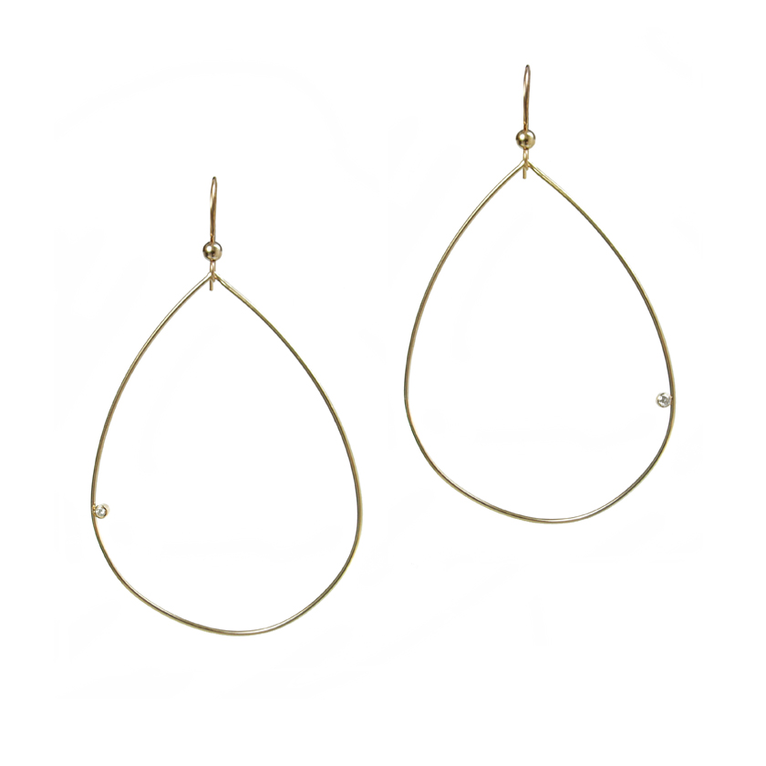 Teardrop Earrings with Floating Diamonds