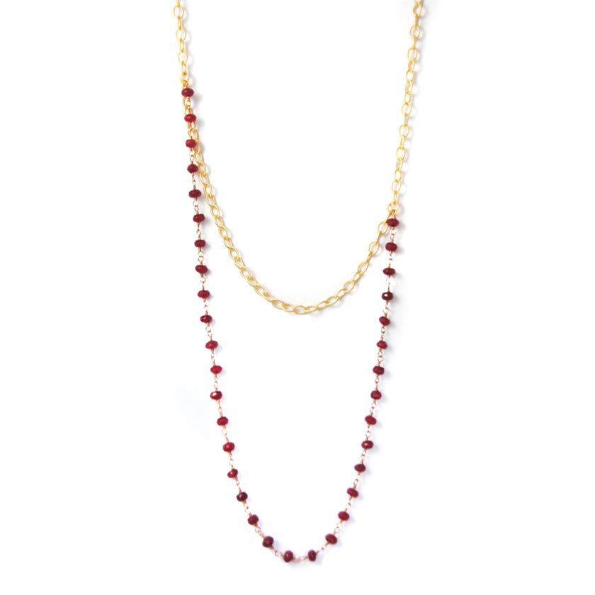 Gold & Ruby Long Necklace