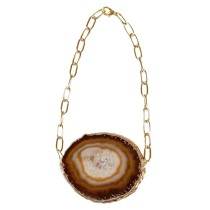 Sliced Brazilian Agate Statement Necklace (Large)