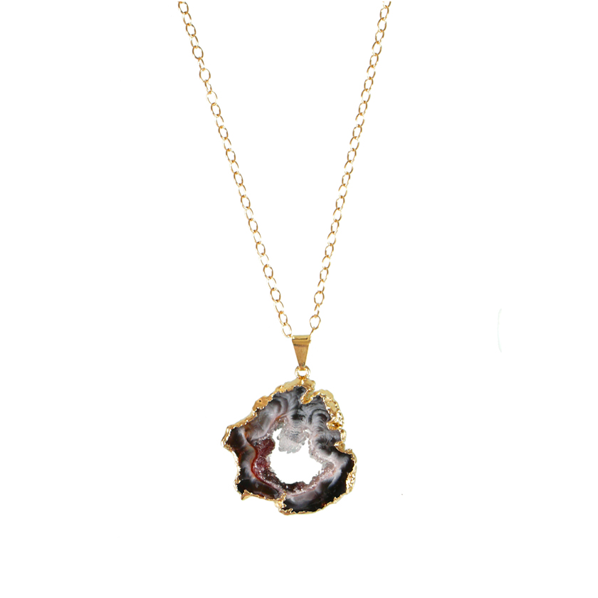 Sliced Druzy Agate Pendant necklace