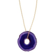 "Agate Druzy Slice ""Donut"" necklace"